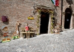 italian renaissance toen, street in Gradara with toys shop
