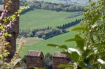 landscape of Italy, view from external wall of Gradara
