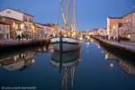 water reflections in Cesenatico's port