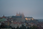 fall mist at prague castle overs St. Vitu's cathedral pinnacles at sunset