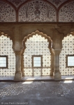 indo islamic style: carved window inside fort of amber india