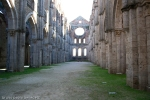 central corridor of church without roof in gothic style st galgano tuscany