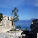 view to garda lake and montains from the ruins of roman villa of Catullus poet