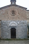 facade of the knights templar church in San Gimignano tuscany italy