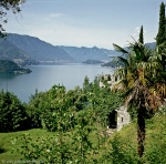 panoramic view from ruins of lombard castle to the western branch of the lake of como