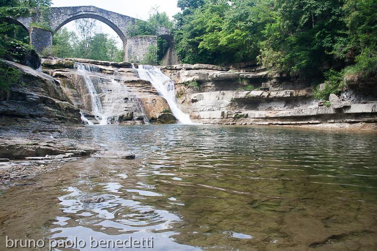 waterfalls cascate della brusia in portico di Romagna Italy