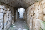 inside Etrurian grave in Italy,corridor with pillar